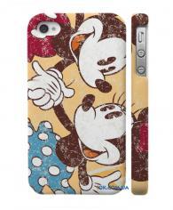 Пластиковый чехол для iPhone 4, 4S  Микки и Минни