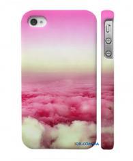 Стильная накладка на Айфон 4, 4С  розовые облака