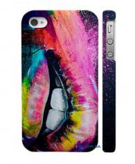 Яркая Swage накладка на Айфон 4, 4С  губы-радуга